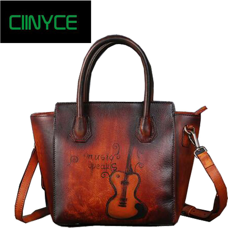 Genuine Cow Leather womens handbags guitar prints vintage female totes hand painting original designer crossbody messenger bags ...