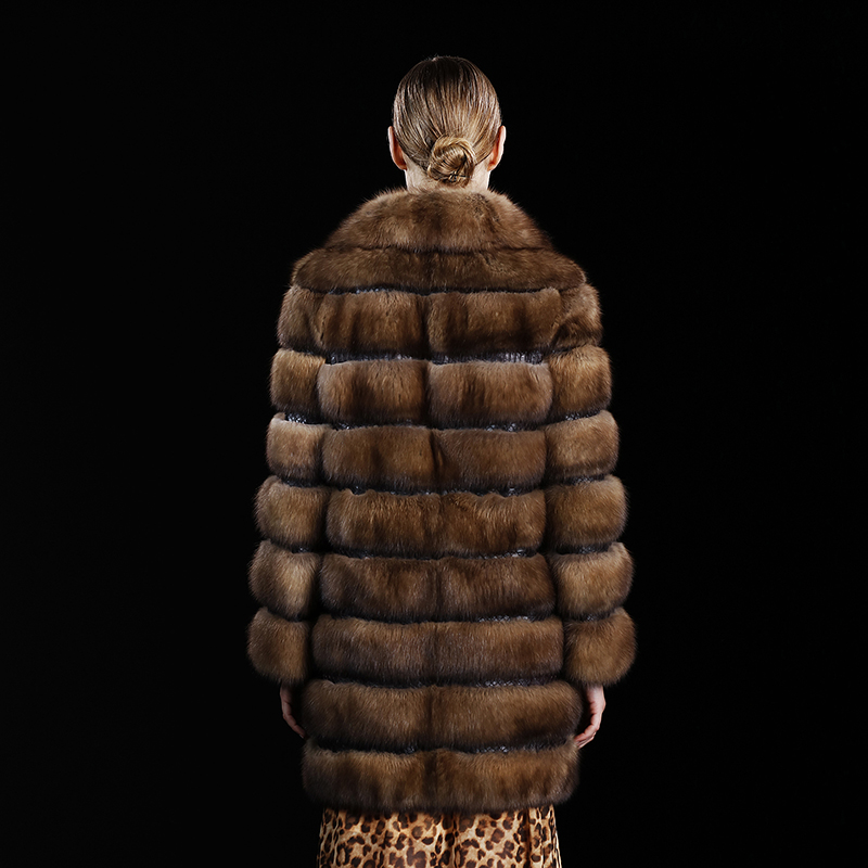Gamme Qualité Vison Femmes Élégant Naturel Luxe Long Veste De Moyen 0810 Russie Haut Phoenix New Martre Sable Fourrure Manteau K 08wwOqtP