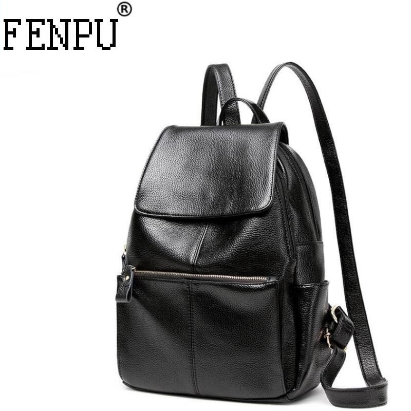 Women Genuine Leather Backpack High quality Women BackPack Daily Bags For Girls College Female Leather Fashion Shoulder Bags fashion solid women backpack high quality leather backpack female daily backpack for teenage girls schoolbag leisure daypack sac