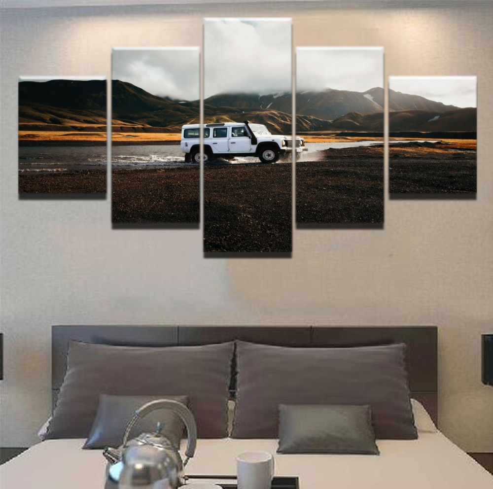 HD Print Canvas Frame Painting Wall Art 5 Panel Jeep Cross Country Car Poster Landscape Modular Picture For Living Room Decor in Painting Calligraphy from Home Garden