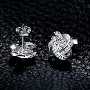 Image 3 - JewelryPalace Liebe Knoten CZ Stud Ohrringe 925 Sterling Silber Ohrringe Für Frauen Mädchen Koreanische Ohrringe Modeschmuck 2020