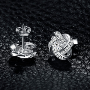 Image 3 - Jewelrypalace Del Nodo di Amore Cz Orecchini con Perno 925 Orecchini in Argento Sterling per Le Donne Delle Ragazze Coreano Orecchini Gioelleria Raffinata E Alla Moda 2020