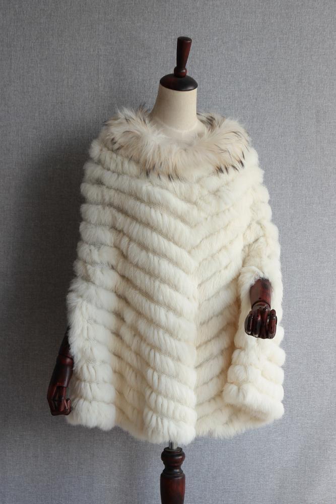 Новые модные женские Для женщин Bohe с натуральным кроличьим мехом трикотажный пуловер шаль Cappa Обёрточная бумага мыс реального енота мехово... ...