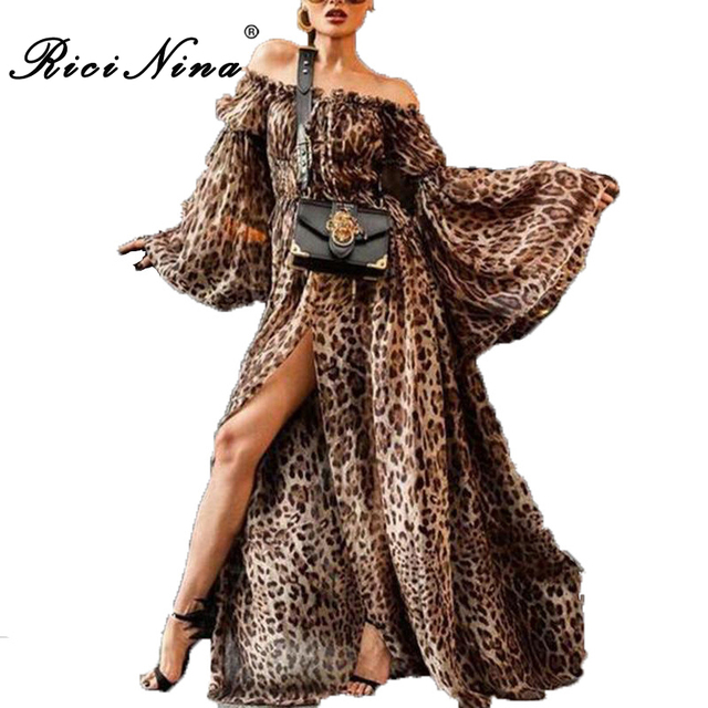Slash Neck Long Sleeve Sexy Long Dress