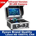 """Eyoyo Original 30 M Inventor Dos Peixes de Pesca Submarina 1000TVL 7 """"Monitor Da Câmera de Vídeo AntiSunshine Shielf Sunvisor Infravermelho IR LED"""