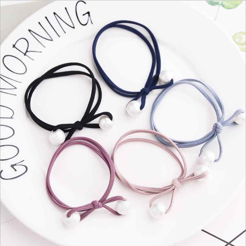 Hair Accessories Bow Pearl Elastic Rubber Bands Headwear Girl Elastic Hair Band Ponytail For Women