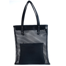 ollow Out Mesh Leather Bag Summer Beach Bag Handbags Bucket Bag Leisure Large Capacity canvas Women Composite Bag