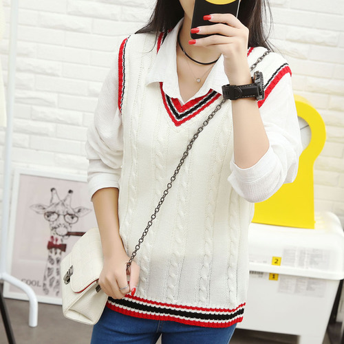 Autumn 2019 Women Korean Preppy Style Vintage Striped V Neck - Women's Clothing - Photo 2