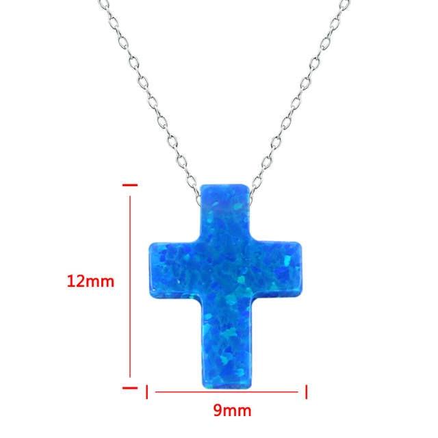 53b6e13a37c1 placeholder Cruz Azul ópalo COLLAR COLGANTE 925 collar de piedra azul  mujeres joyería plata 925 collares joyas