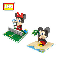 LNO Japanese Cartoon Nanoblocks Mickey Minnie Scene Series Figure Big Size Diamond Mini Building Bricks 3D