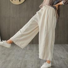 Johnature 2020 New Cotton Casual Ankle Length Linen Loose Women Pants Fashion Spring Summer Elastic Waist Wide Leg Pants