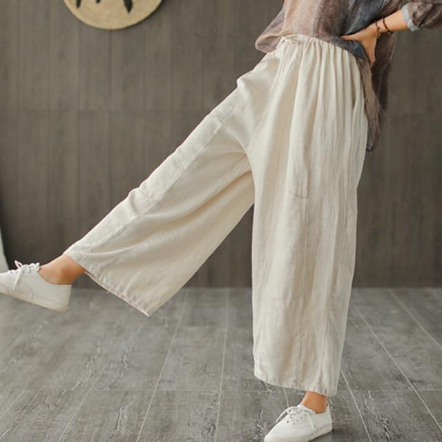 Johnature 2020 新コットンカジュアル足首の長さのリネンルーズ女性パンツファッション春夏ウエストゴムワイド脚パンツ