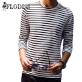2017 New Spring Casual Mens T-Shirts Men O-Neck Striped Long Sleeve T-Shirt Men's Fashion T Shirts Black and White Tops Tees
