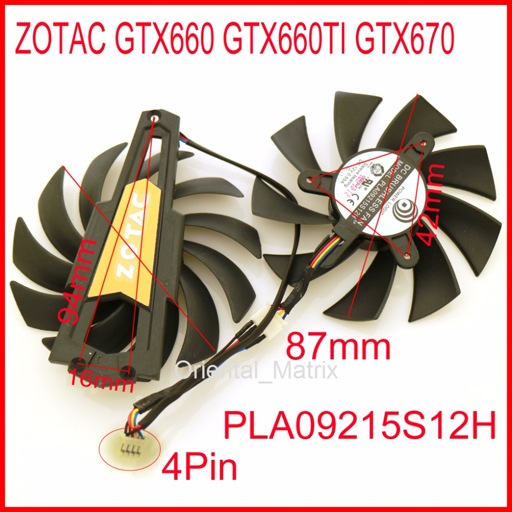 PLA09215S12H 87mm 12V 0.55A 4Pin VGA Fan For ZOTAC GTX660 GTX660TI GTX670 Graphics Card Cooling Fan 4pin mgt8012yr w20 graphics card fan vga cooler for xfx gts250 gs 250x ydf5 gts260 video card cooling