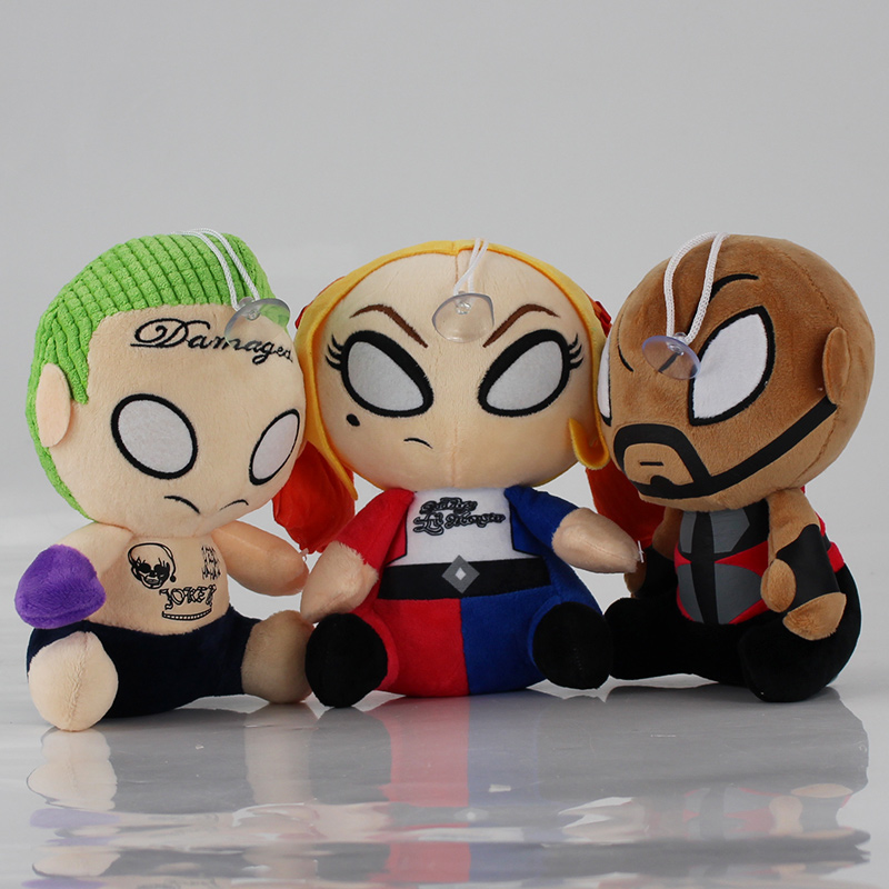 20cm Suicide Squad Joker Harley Quinn Deadshot Plush Soft Stuffed Doll Toy pendant with sucker