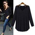 Women V neck cut out loose shirts casual off shoulder t shirt Plus size S-5XL 6XL  basic long sleeve tees cozy tops 12 colors