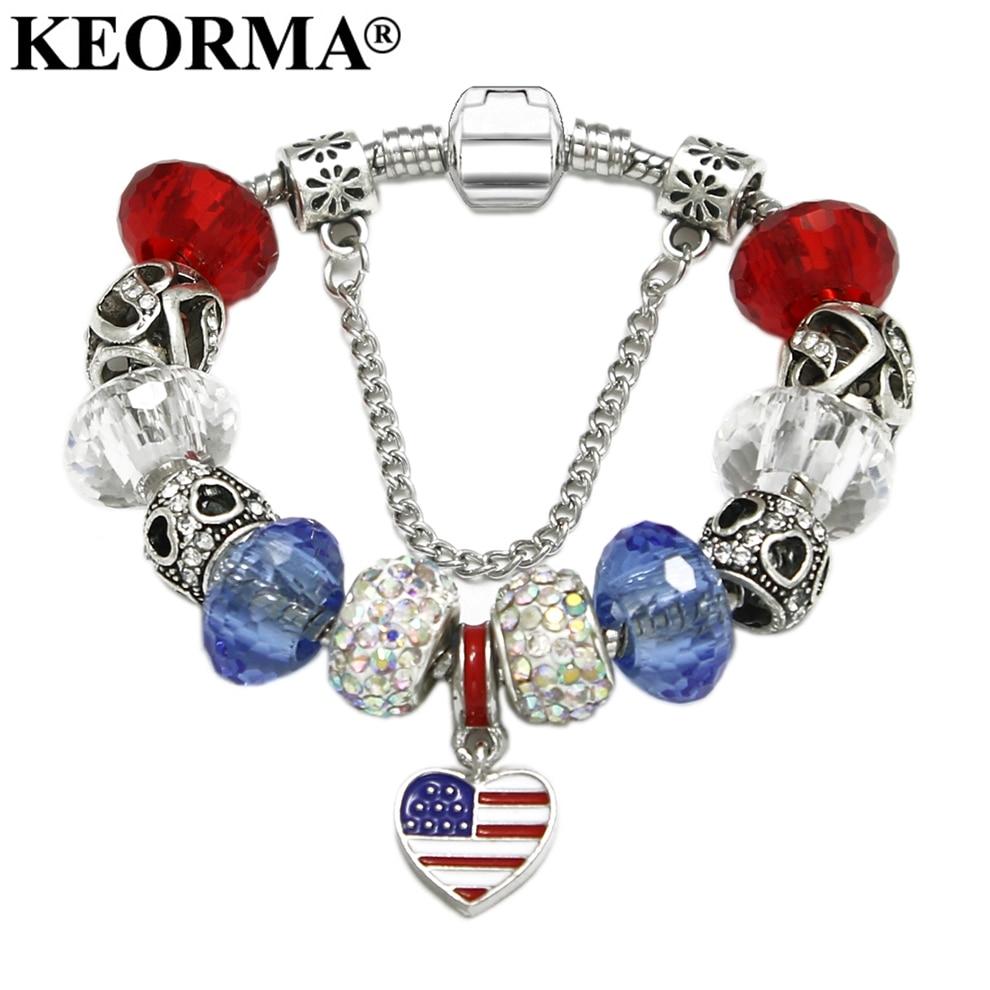 KEORMA Moderne Amerikaanse Amerikaanse vlag Handgemaakte bedelarmband met hart hanger Damesmode sieraden Vriendschap Beste cadeau KM352