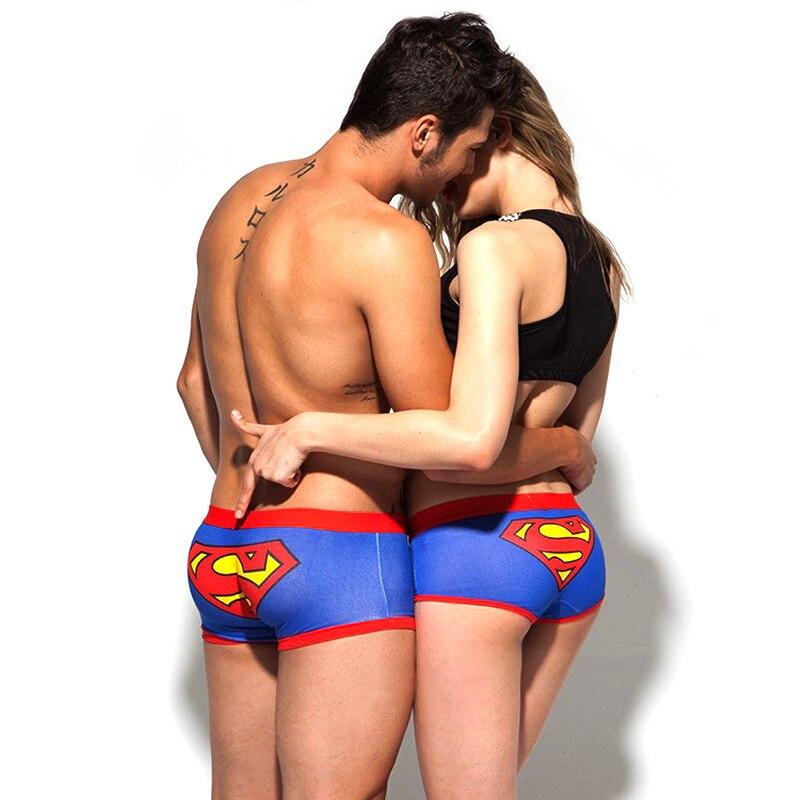 2 Pcs Superman Men Boxer Shorts Couples Underwear cartoon printed Male Panties Sexy underpants women Cotton triangle underwears