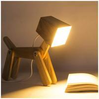 Cute Wooden Dog Night Light Home Bedroom Living Room LED Lights Art Decoration Adjustable Dimmable Soft Lighting Table Desk Lamp