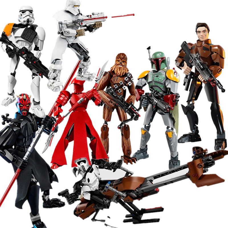 New Star Wars Darth Maul Rey Chewbacca Scout Trooper Speeder Building Blocks Figure Toys For Children With Legoing 75537 star wars figures jedi chewbacca han solo darth vader leia legoing jango fett obi wan models & building toys blocks for children