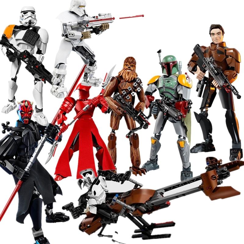 Nouveau Star Wars dark Maul Rey Scout Trooper Speeder blocs de construction figurine jouets pour enfants avec Legoinglys 75537