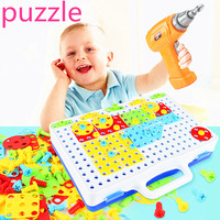 1PC Electric Drill Screws Puzzle Kids Drill Toys Jigsaw Puzzles Toy Assembled Mosaic Design Building Toys Boy Pretend Play Toy