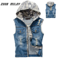 Men's Hooded Denim Vest Camouflage Hood Lining Frayed Cowboy Male Ripped Sleeveless Jacket Vintage Waistcoat Tank Tops