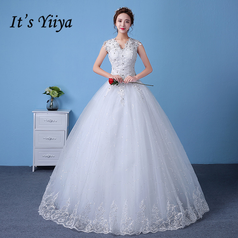 2017 Real Photo Tulle V neck Lace Wedding font b Dresses b font Cheap Sequins White