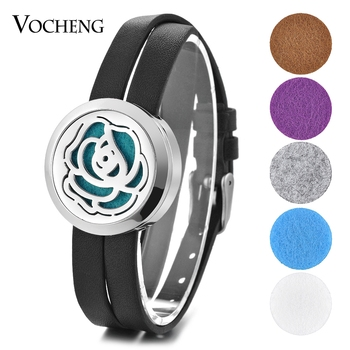 10pcs/lot Aroma Perfume Diffuser Locket Bracelet 316L Stainless Steel Double Leather Magnet Open without Oil Pads VA-580*10