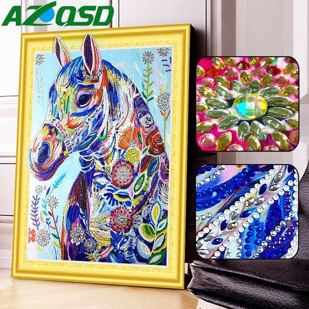 AZQSD מיוחד בצורת יהלום ציור סוס חלקי עגול תרגיל 5D DIY יהלומי פסיפס חיות בית תפאורה תמונה של Rhinestones