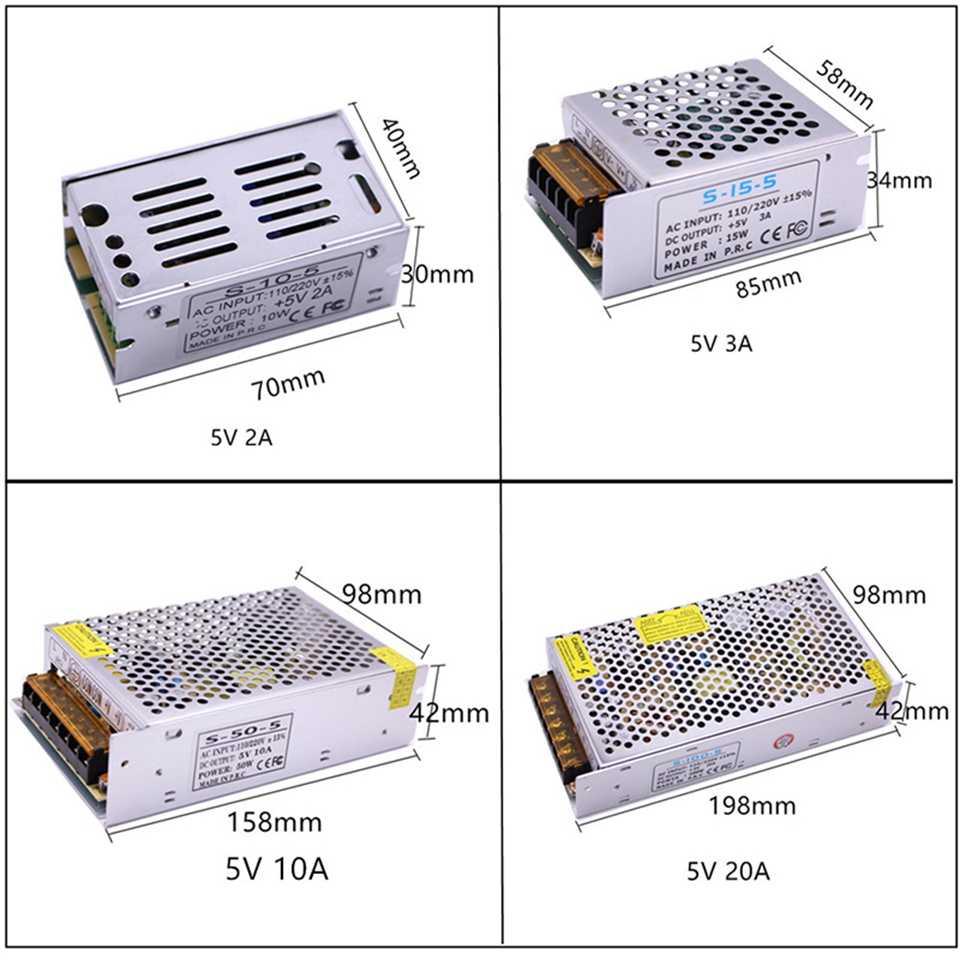 Aluminium LED sterownik zasilacza AC110V/220 V do DC 5 V 12 V 24 V 1A 2A 3A 5A 10A 20A 30A 40A 50A przełącznik do taśmy LED światła