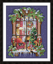 The window of the Christmas Printed Canvas DMC Counted Cross Stitch Kits printed Cross-stitch set Embroidery Needlework