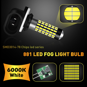 Image 4 - Katur 2pcs H27W/2 881 Led נורות ערפל אורות עבור מכוניות Led ערפל נהיגה מנורת גבוהה אורות רכב אור Sourse 6000K לבן H27W H27 Led