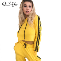 2pec Yellow Sweatshirt Suit Hoodies Tracksuit Women Long Pants And Crop Top Sporting Sweatsuit 2017 Autumn