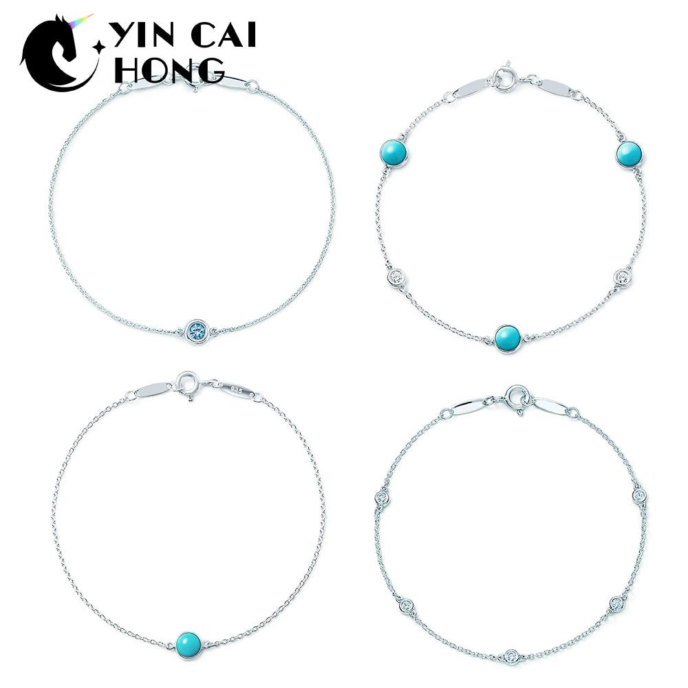 0b26d4c277b YCH Charm 925 Sterling Silver Charm Original Minimalist Fashion Women's  Bracelet Shine Zircon Retro Ladies Bracelet