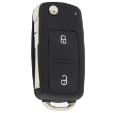 WhatsKey Replacement 2 Button Folding Uncut Blade Key Fob Case For Volkswagen Switchblade Remote Shell