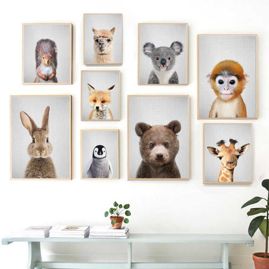 Alpaca Fox Bear Giraffe Wall Art Canvas Painting Nordic Posters And Print Animal Wall Pictures Kids Baby Room Scandinavian Decor