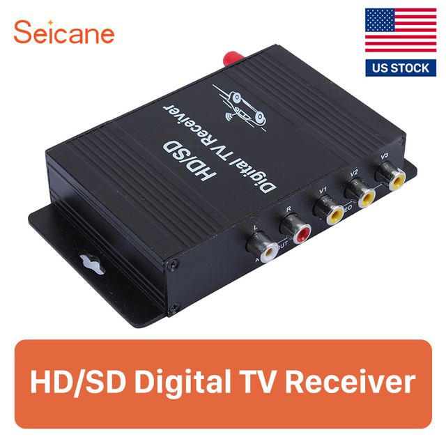Seicane 74*110*27mm 2 audio output 4 video input/output 60-100km/h Car Digital TV receiver for Audi BMW Buick Chevrolet Chrysler