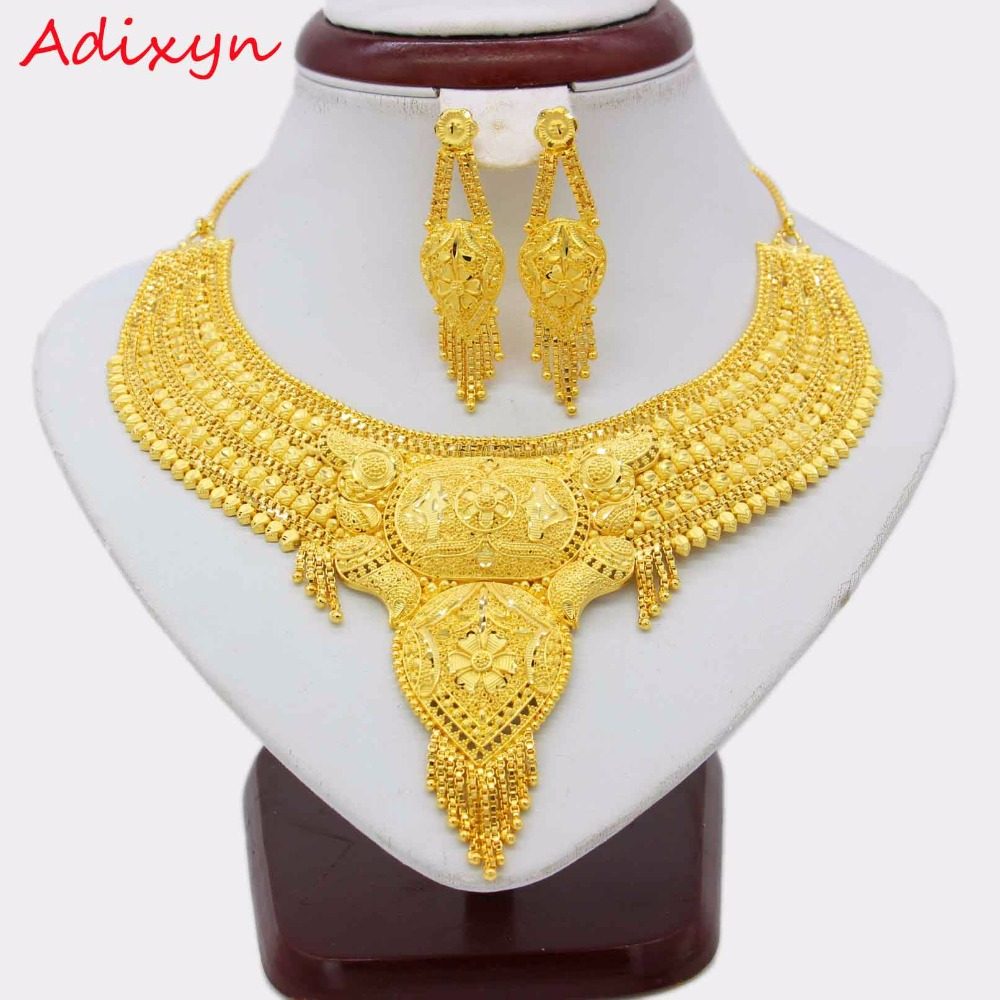 Adixyn NEW 45cm/18inch Fashion Necklace/Earrings/Ring Jewelry Set Women Gold Color Arab/Ethiopian Jewelry Wedding Accessories