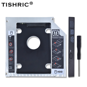 TISHRIC Aluminum 2nd HDD Caddy 12.7mm SATA 3.0 Optibay Hard Disk Drive Box Enclosure DVD Adapter Case 2.5 SSD For Laptop