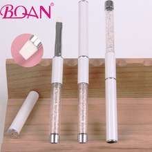 BQAN 1pcs  Free Shipping Beautiful White Nylon Hair Metal Nail Brush UV Gel Brush For Nail Polish