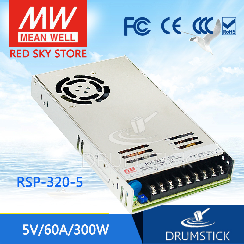 цена на Hot! MEAN WELL RSP-320-5 5V 60A meanwell RSP-320 5V 300W Single Output with PFC Function Power Supply