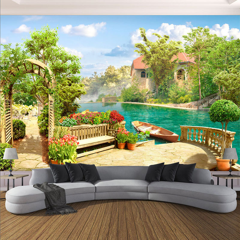 Custom Any Size Photo Wallpaper 3D Garden Lake Scenery Background Wall Mural Living Room Bedroom Restaurant Decor Wall Paper 3 D