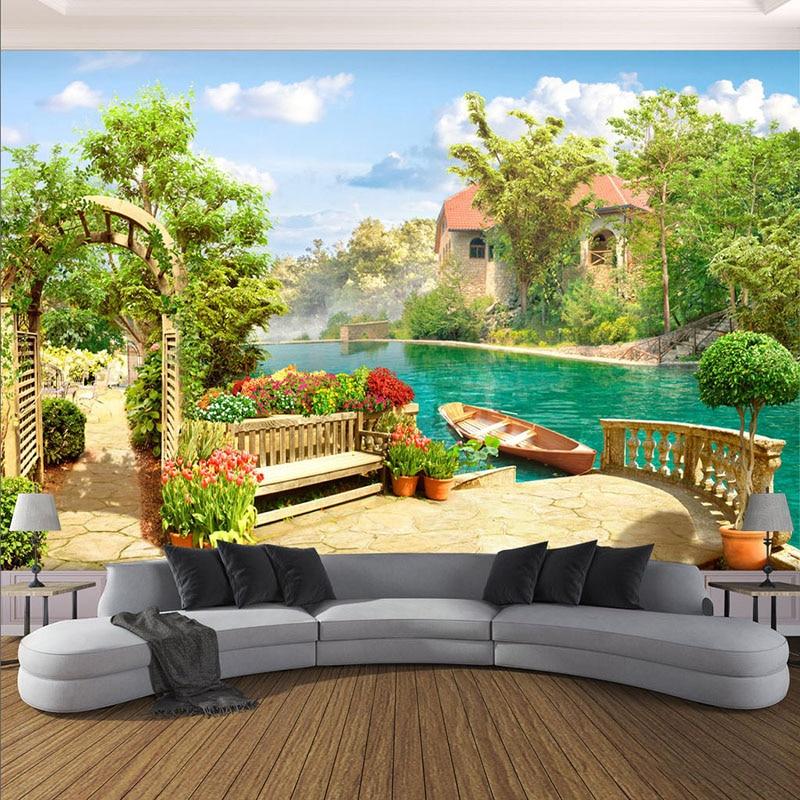 Custom Any Size Photo Wallpaper 3D Garden Lake Scenery Background Wall Mural Living Room Bedroom Restaurant Decor Wall Paper 3 D