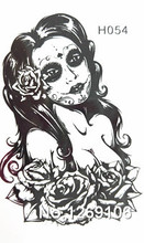 10x6cm Temporary Small Fashion Tattoo Black Sexy Rose Girl Waterproof Temporary Tattoo Stickers