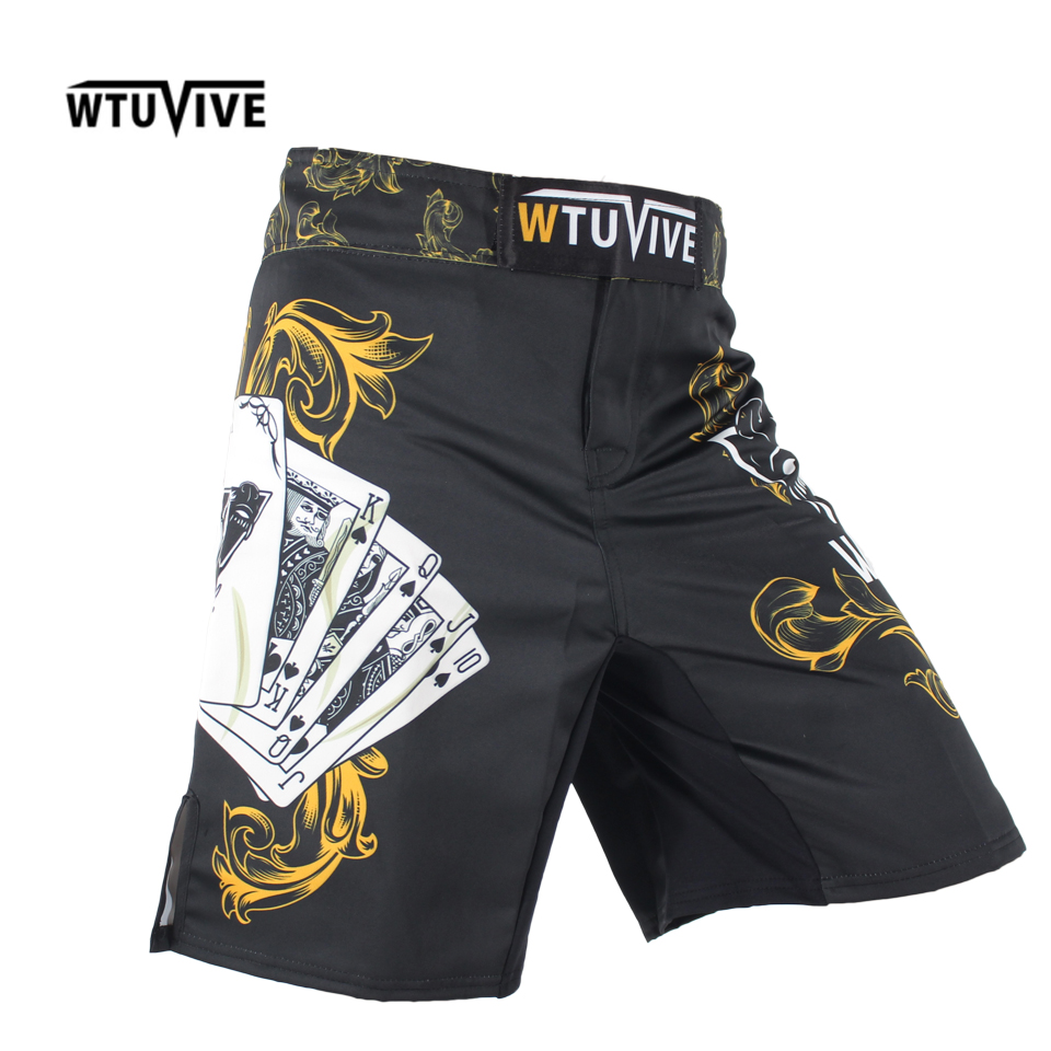 WTUVIVE Men s Yellow Poker Warrior Boxing Fitness Breath boxing shorts Tiger muay thai boxing shorts