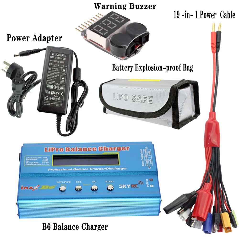 B6 Balance chargeur + B6 12 V 5A adaptateur secteur + batterie Lipo antidéflagrant 185*75*60mm + 19 en 1 câble d'alimentation + avertisseur sonore
