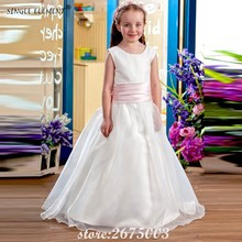 SINGLE ELEMENT 100% Real Photo Pink Belt Baby Princess Flower Girl Dresses Kids For Wedding Party Gown