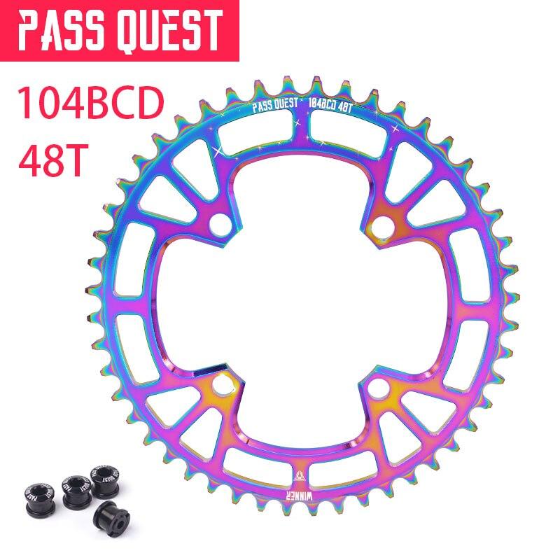 Pass quest vtt rond dents de roue à chaîne 104BCD vtt vélo pédalier en aluminium plateau titane placage M590 M670 M780