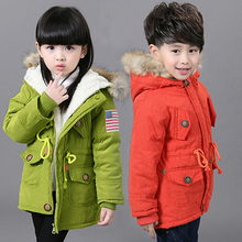 цена на HH children winter jacket parka real fur snowsuit Kids parka jacket girls coat baby boy Children Clothing Hooded Outerwear